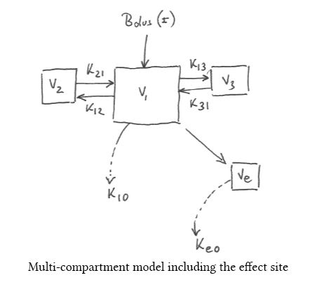 multicompartment model including the effect site