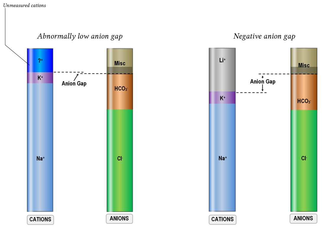 anion gap changes due to cation poisoning